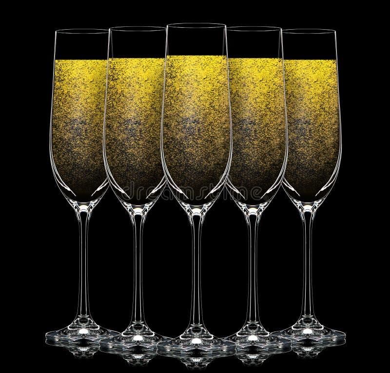 Silueta del vidrio del champán del color en negro fotografía de archivo