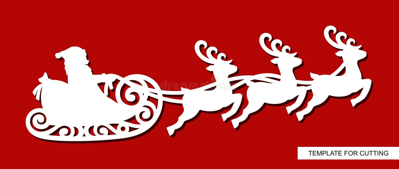 Silueta del vuelo de Santa Claus en un trineo con los renos stock de ilustración