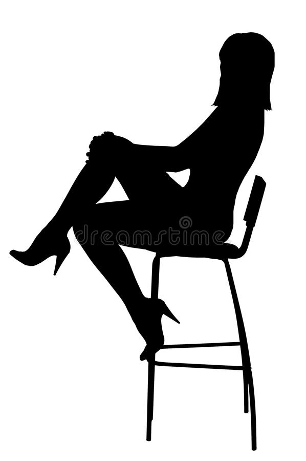 Silueta del womansitting sexual en taburete fotografía de archivo libre de regalías