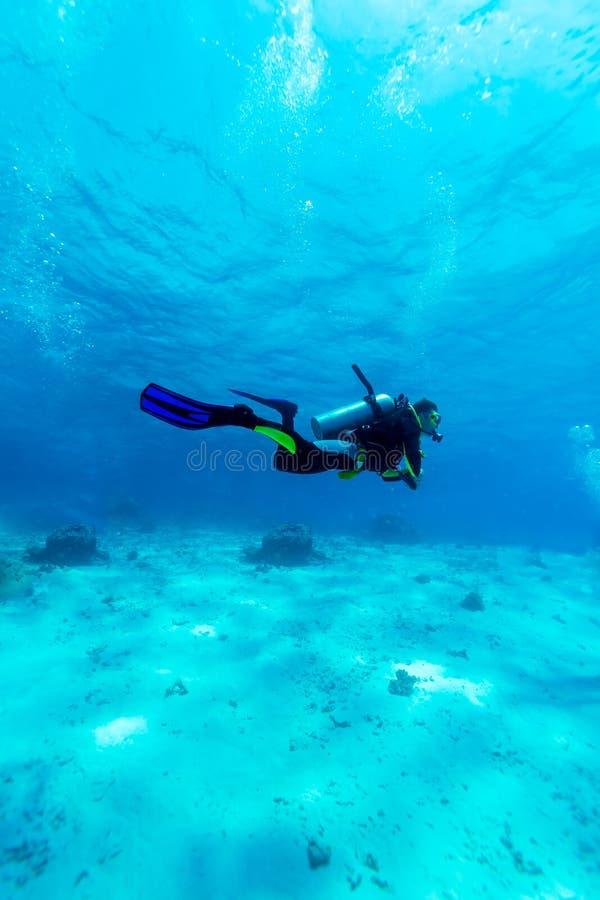 Silueta del zambullidor de equipo de submarinismo cerca de la parte inferior de mar imagen de archivo