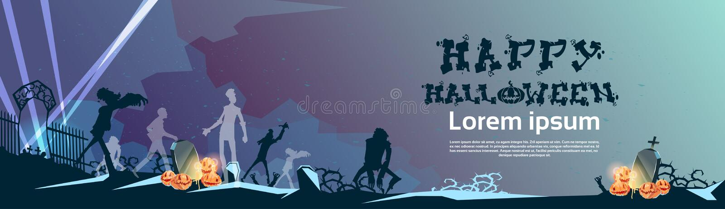 Silueta del zombi de la tarjeta del cementerio del cementerio de la bandera de Halloween ilustración del vector
