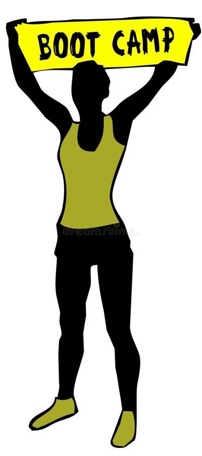 Silueta deportiva de la mujer que lleva a cabo una muestra amarilla de la bandera con el texto de BOOT CAMP ilustración del vector
