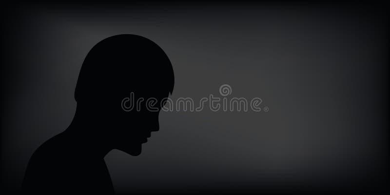 Silueta deprimida triste del hombre en fondo negro stock de ilustración