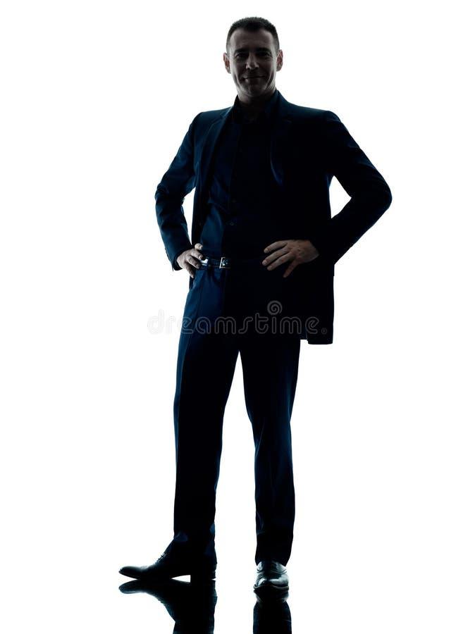 Silueta derecha del hombre de negocios aislada foto de archivo