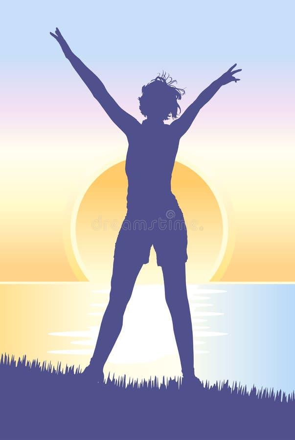 Mujer joven que hace frente a la salida del sol en la colina ilustración del vector