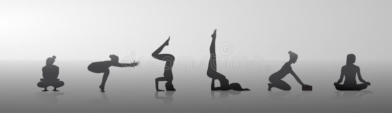 Silueta determinada del entrenamiento del ejercicio de la mujer de la aptitud del deporte de la posición de la yoga de la muchach stock de ilustración