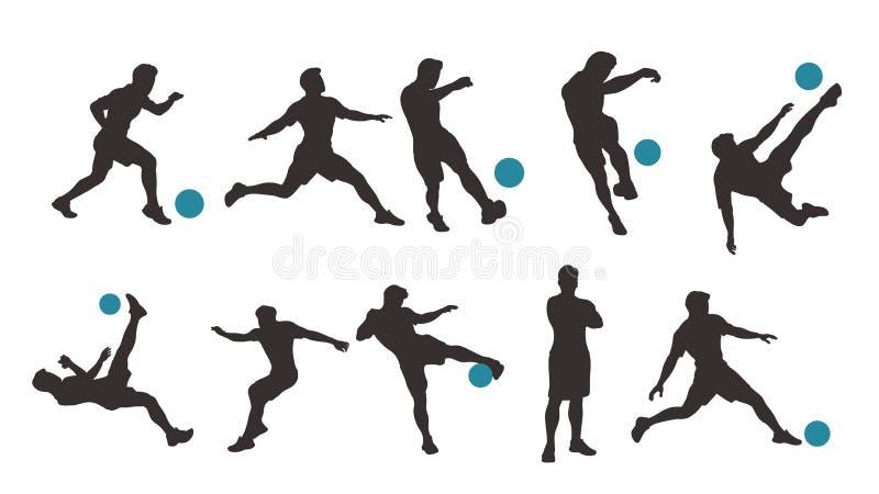 Silueta determinada del jugador de fútbol stock de ilustración