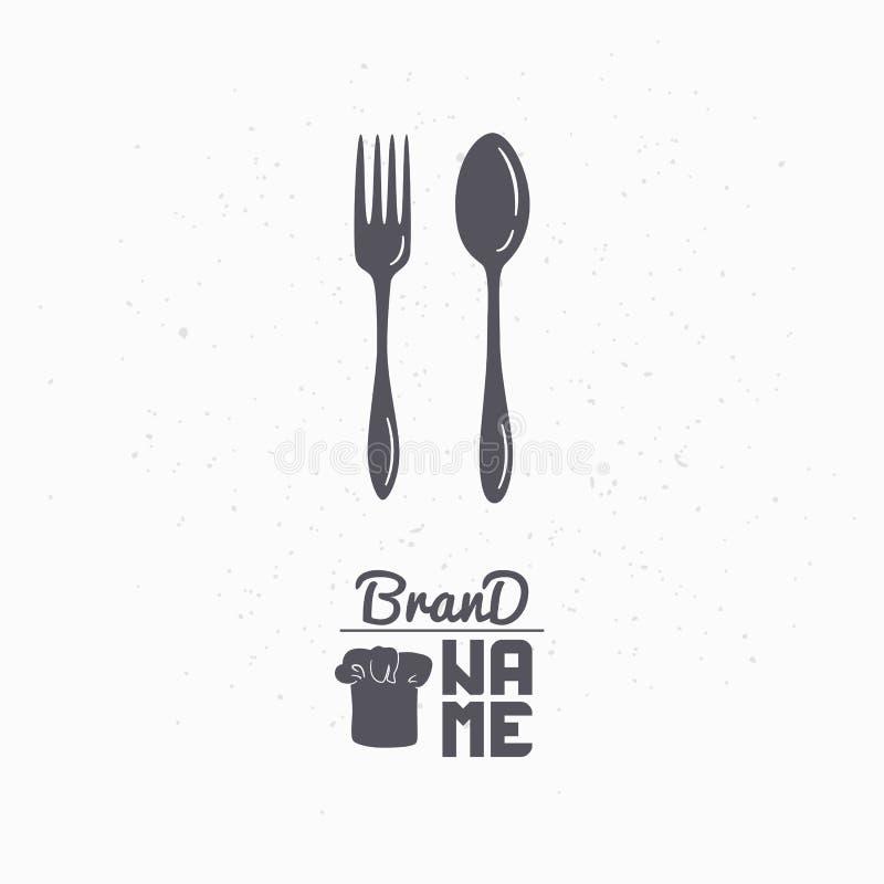 Silueta dibujada mano de la cuchara y de la bifurcación Plantilla del logotipo del restaurante para el acondicionamiento, el menú stock de ilustración