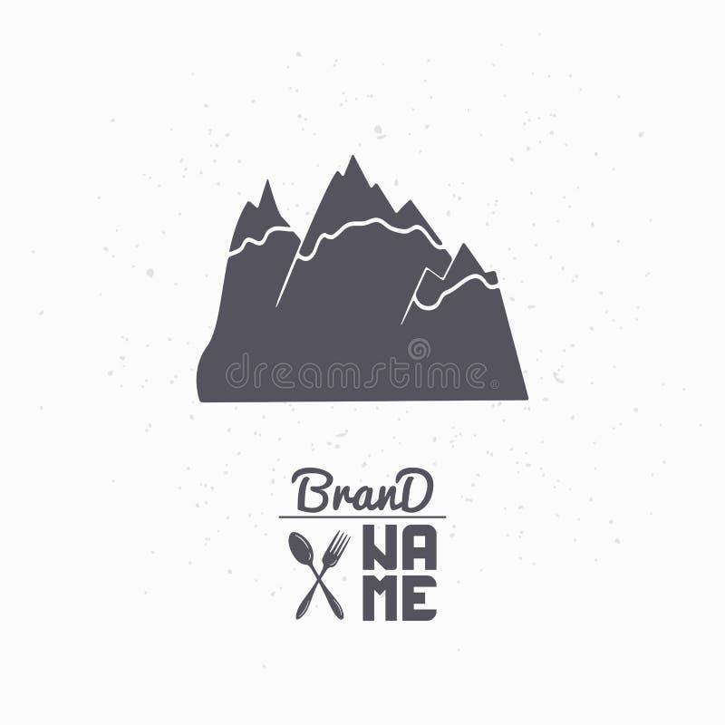 Silueta dibujada mano de montañas Plantilla pura del logotipo del agua para el empaquetado o la identidad de marca del arte libre illustration