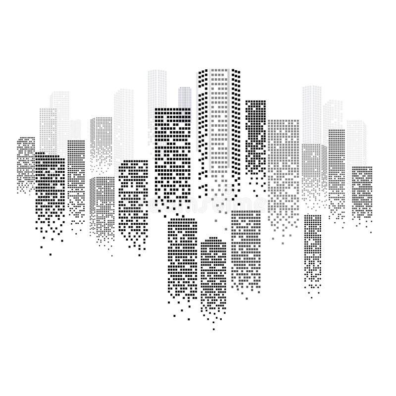 Silueta dibujada mano Scetch del paisaje urbano libre illustration
