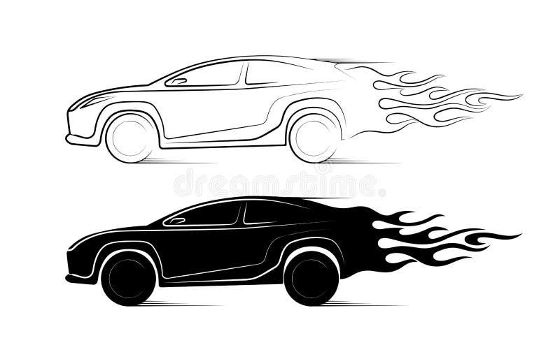 Silueta dinámica del coche, temas automotrices del icono stock de ilustración