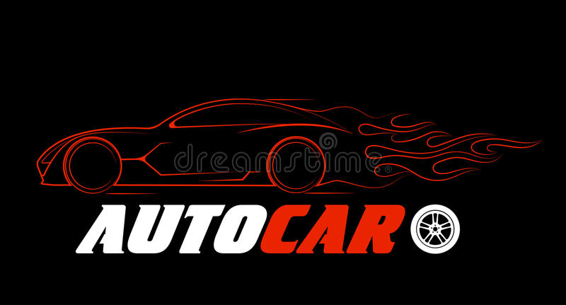 Silueta dinámica del coche, temas automotrices del logotipo ilustración del vector