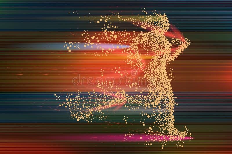 Silueta divergente de la partícula corriente de la mujer en fondo abstracto dinamic stock de ilustración