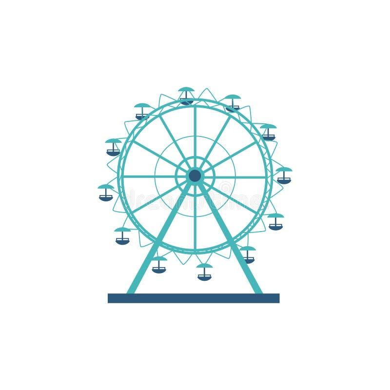 Silueta e icono redondos de una noria, del carrusel para un parque de atracciones y del entretenimiento ilustración del vector