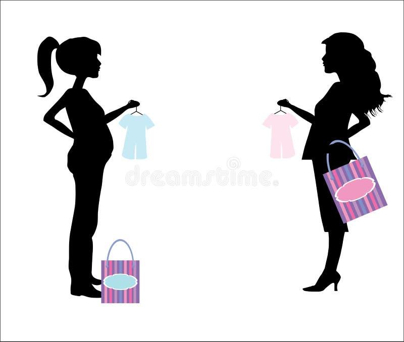 Silueta embarazada de la mujer de las compras ilustración del vector