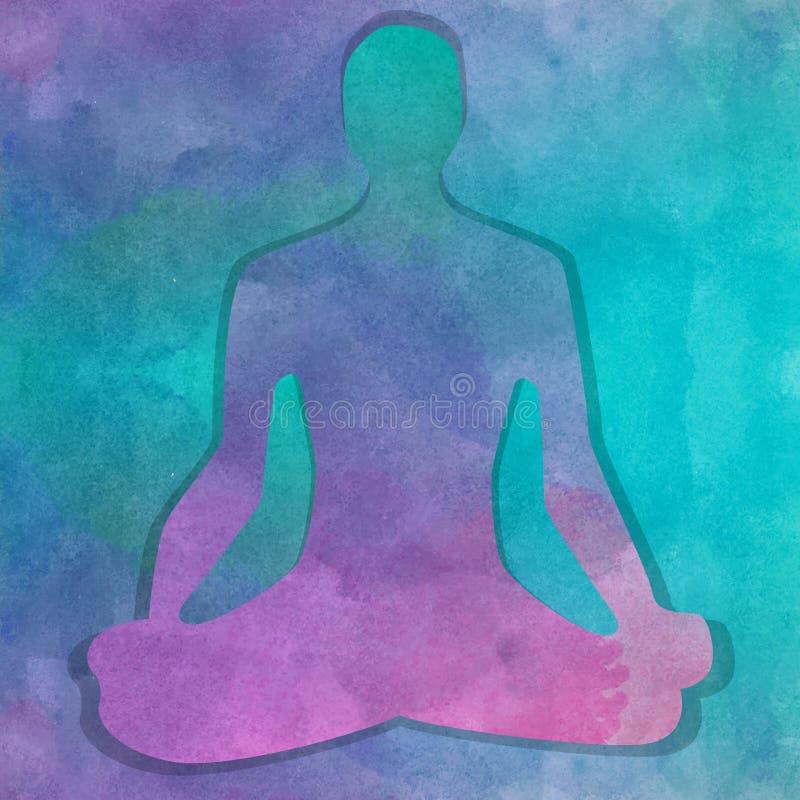 Silueta en actitud de la yoga sobre fondo de la acuarela ilustración del vector