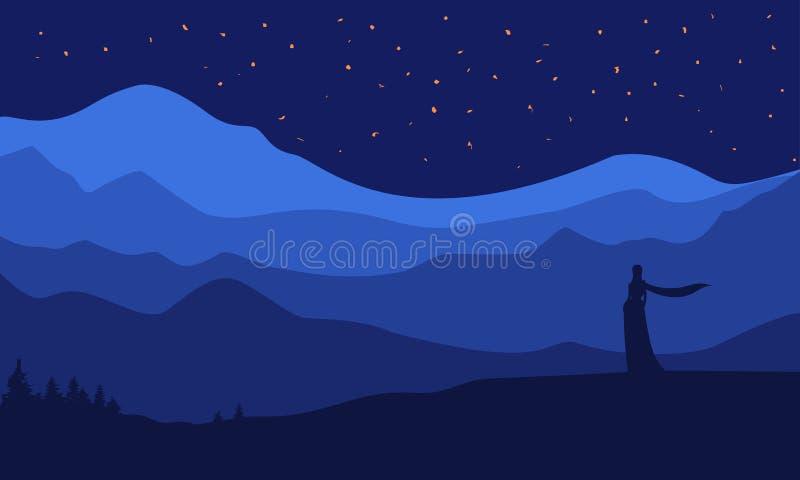 Silueta en el fondo del paisaje, hermosa vista, panorama de la naturaleza, estrellas cielo, montañas de la noche stock de ilustración