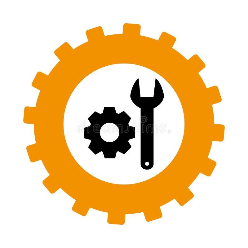 Silueta en la forma del engranaje con la llave y el piñón libre illustration