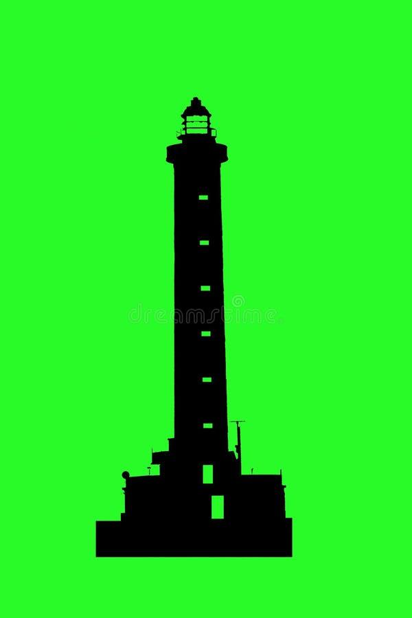 Silueta en la pantalla verde del faro para los marineros excelentes como logotipo fotografía de archivo