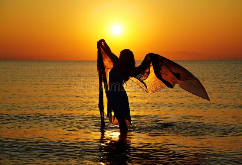 Silueta en la puesta del sol fotos de archivo