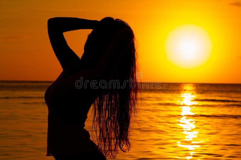 Silueta en la puesta del sol imagen de archivo