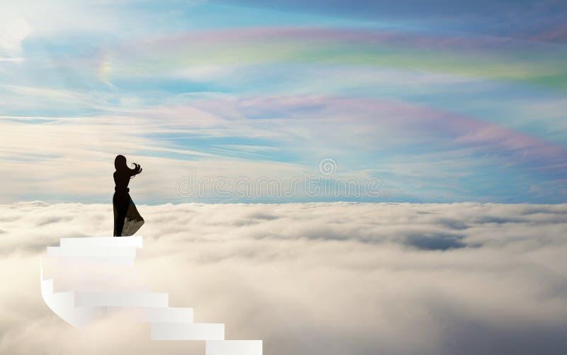 Silueta en las escaleras sobre el cielo del arco iris de las nubes straiway al cielo stock de ilustración