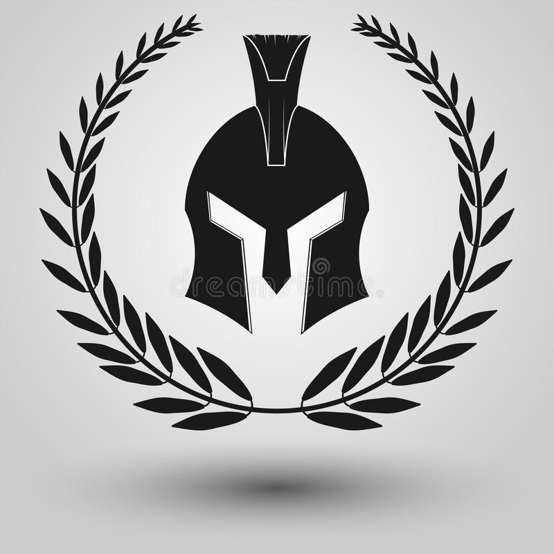 Silueta espartano del casco stock de ilustración