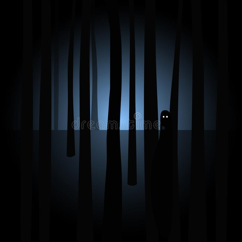 Silueta espeluznante con los ojos en bosque oscuro fantasmagórico stock de ilustración