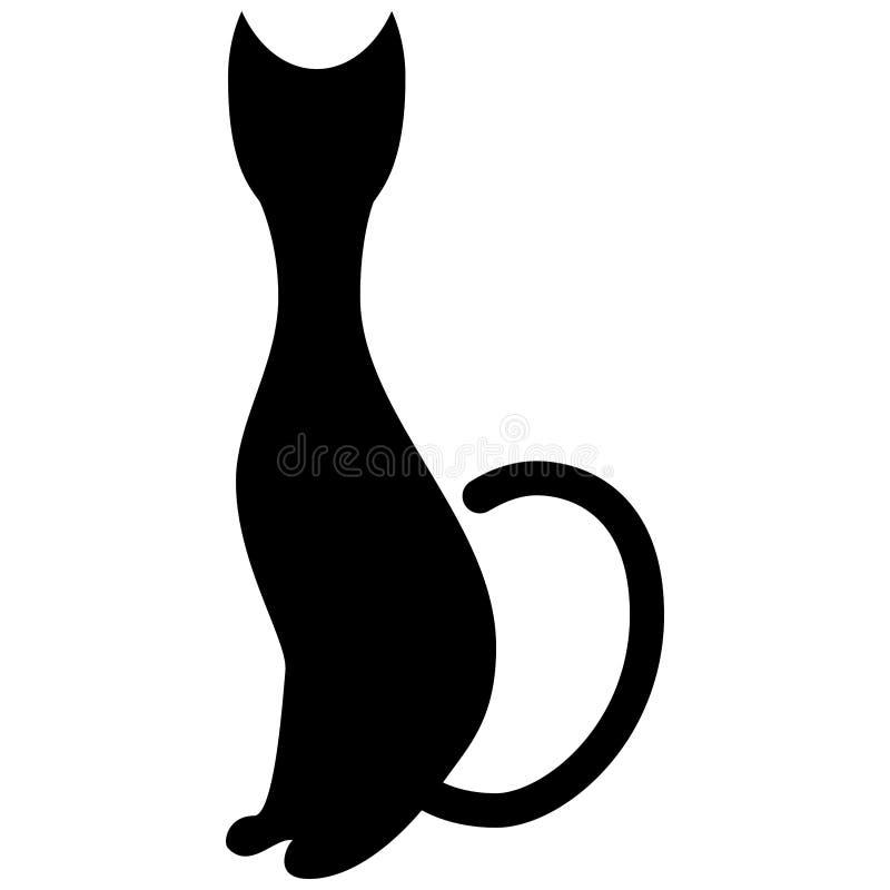 Silueta estilizada de un gato negro de la sentada Estilo del logotipo stock de ilustración
