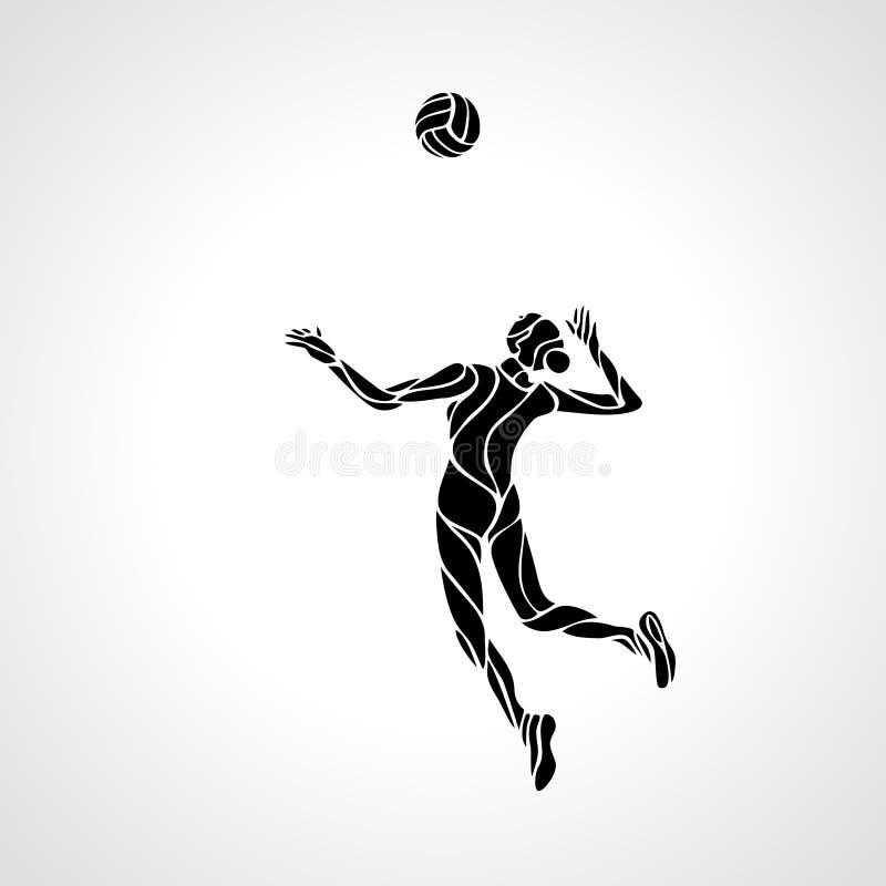 Silueta estilizada femenina del jugador de voleibol ilustración del vector