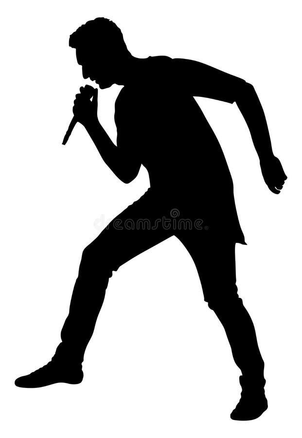 Silueta estupenda de la estrella del cantante popular Hombre del cantante Artista atractivo de la música en la etapa libre illustration