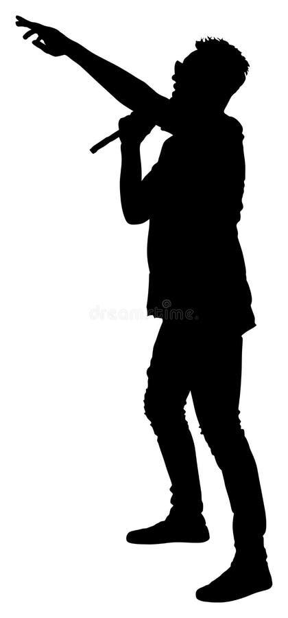 Silueta estupenda de la estrella del cantante popular Hombre del cantante Artista atractivo de la música en la etapa stock de ilustración