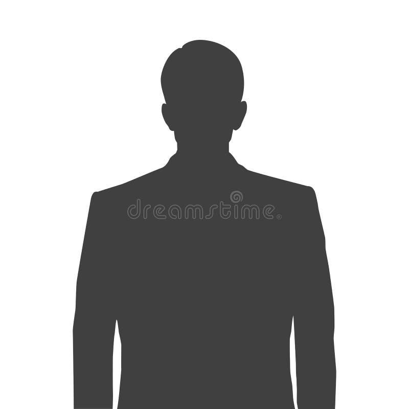 Silueta exacta de un hombre para la imagen del perfil Silueta gris de un hombre cintura-profundo con un peinado aseado en blanco stock de ilustración