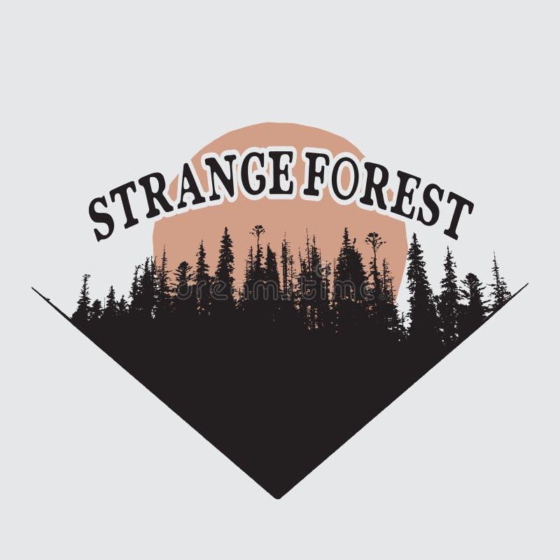 Silueta extraña del bosque ilustración del vector