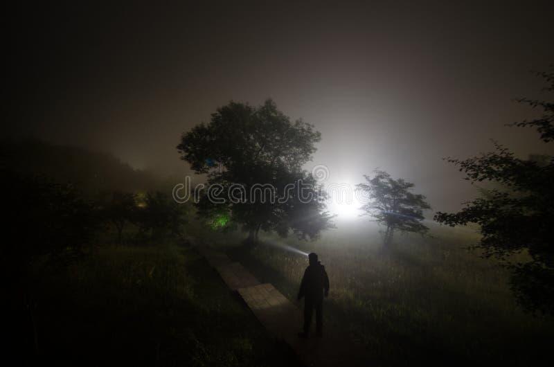 Silueta extraña en un bosque fantasmagórico oscuro en la noche, luces surrealistas del paisaje místico con el hombre espeluznante imagenes de archivo