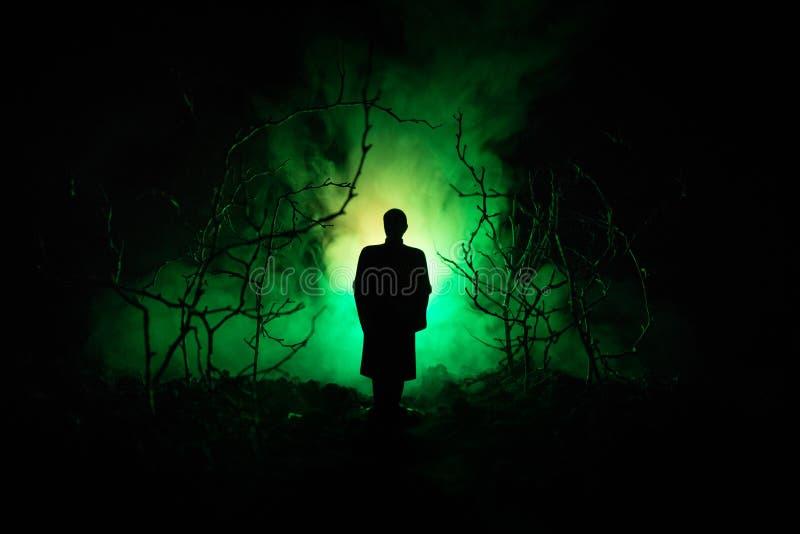 Silueta extraña en un bosque fantasmagórico oscuro en la noche, luces surrealistas del paisaje místico con el hombre espeluznante foto de archivo libre de regalías