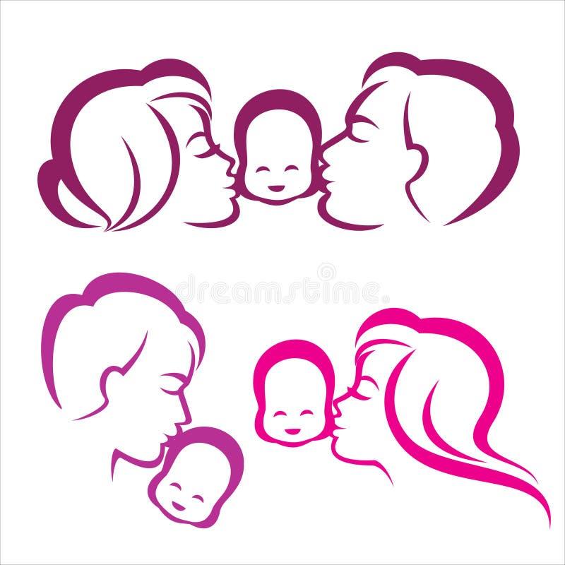 Silueta feliz de la familia stock de ilustración