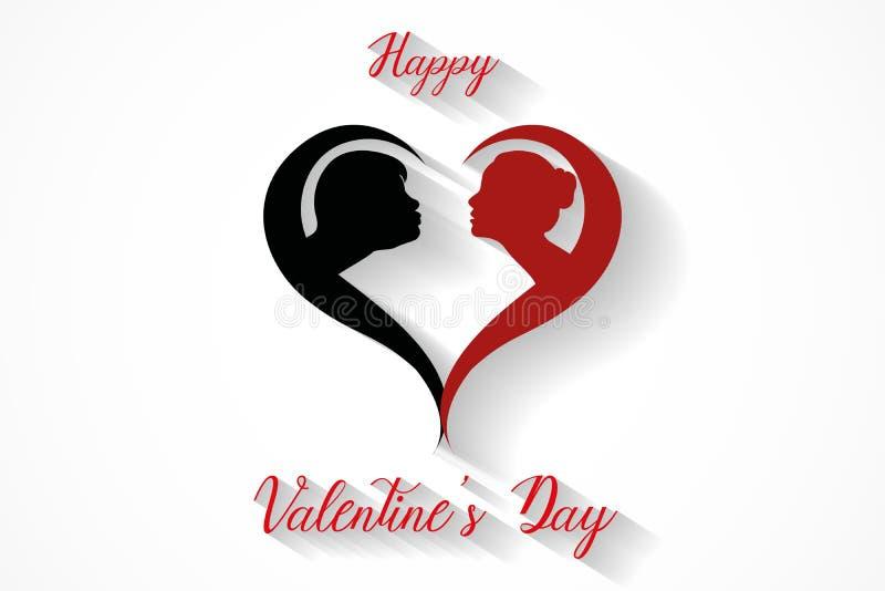 Silueta feliz de los pares de día de San Valentín que se besa en el fondo blanco, vector stock de ilustración