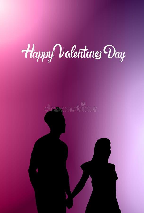 Silueta feliz de los pares del negro de Valentine Day Greeting Card With que lleva a cabo las manos en fondo rosado ilustración del vector
