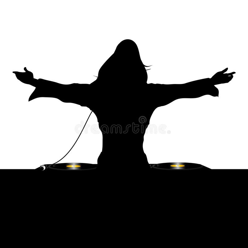Silueta femenina de DJ y cubiertas de registro libre illustration