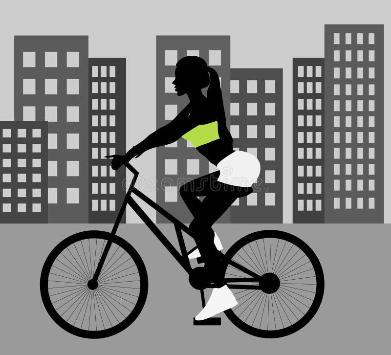 Silueta femenina del negro del ciclista libre illustration