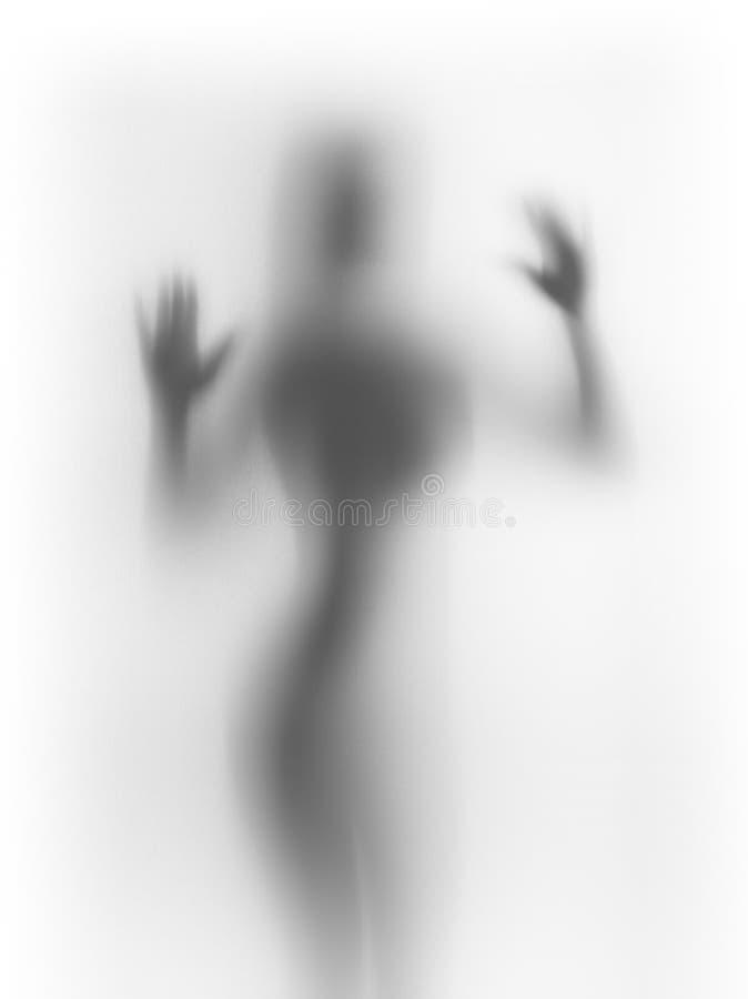 Silueta femenina humana difusa imagenes de archivo