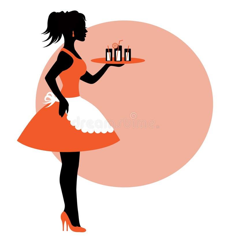 Silueta femenina que lleva un delantal y que lleva una bandeja. ilustración del vector