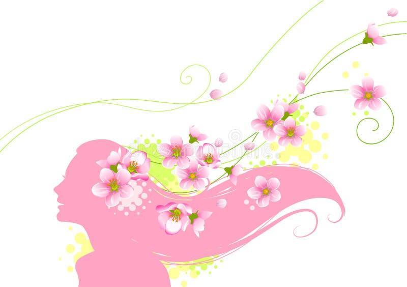 Silueta floral de la muchacha stock de ilustración