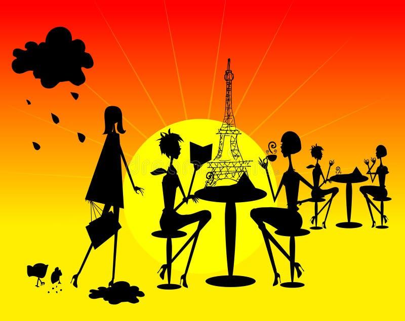 Silueta francesa de la mujer del brillo stock de ilustración