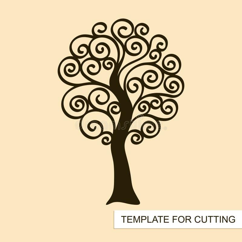 Silueta gráfica del árbol del remolino sin las hojas ilustración del vector