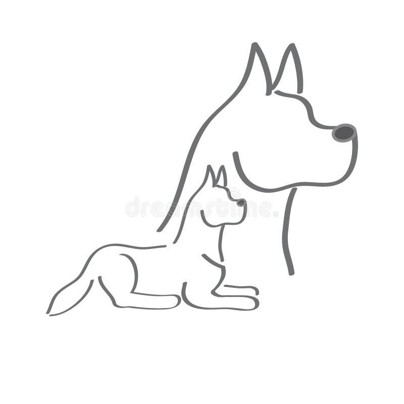 Silueta gris del perros ilustración del vector