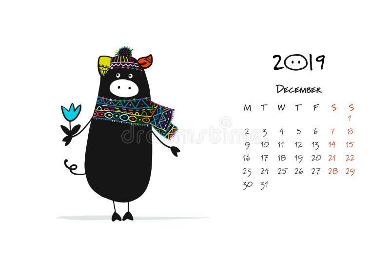 Silueta guarra linda, símbolo de 2019 años para su diseño stock de ilustración