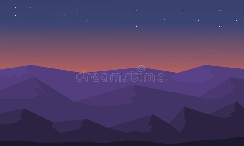 Silueta hermosa de la colina del paisaje ilustración del vector