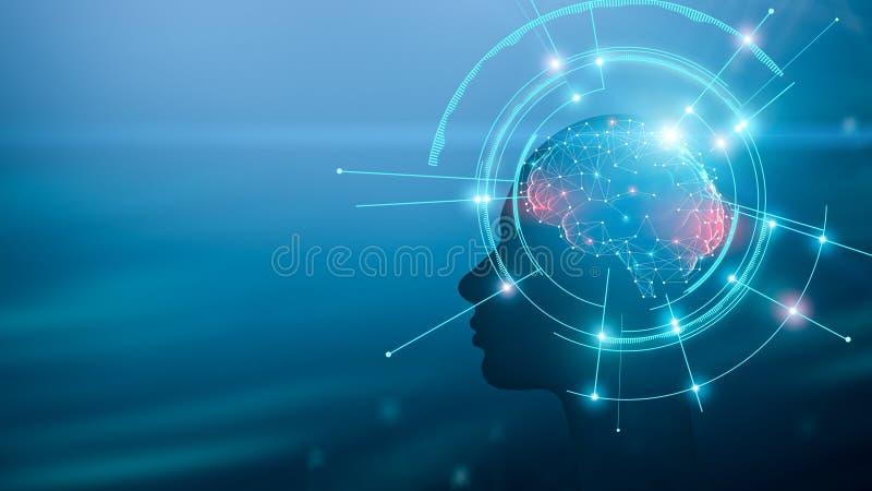 Silueta humana con el cerebro y el proceso de trabajo de la mente